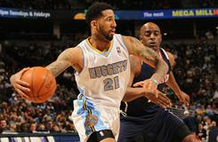 Nuggets forward Wilson Chandler, recently acquired from the Knicks, drives to the basket against the Hawks. Chandler scored 15 points in the Jazz's 100-90 win.
