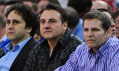 Owners George Maloof, left, Gavin Maloof, center, and Joe Maloof watch a recent Kings game against the Clippers. The club is in talks to move to Anaheim.