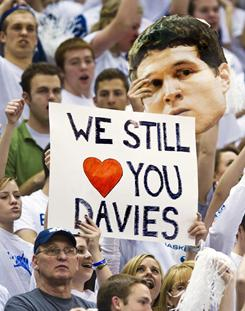 BYU fans hold a sign in support of Brandon Davies (not pictured) during the first half of their game against New Mexico. Davies was suspended for the rest of the season for honor code violations