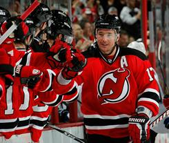 New Jersey's Ilya Kovalchuk (17) celebrates scoring what turned out to be the winning goal in Wednesday's night's game against Tampa Bay. The Devils won 2-1.