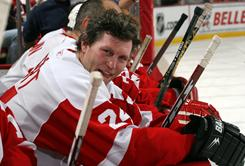 Researchers found a degenerative disease in brain tissue donated by former Blackhawk and Red Wing Bob Probert, seen here in January 2007.