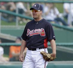 Chipper Jones played third base for the first time since injury his knee last year.