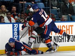 Islanders forward Trevor Gillies received a 10-game suspension for a dangerous hit from behind on Cal Clutterbuck.