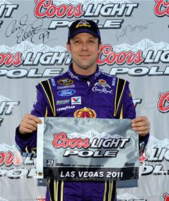 Matt Kenseth won his fifth career pole with a track record at Las Vegas Motor Speedway.