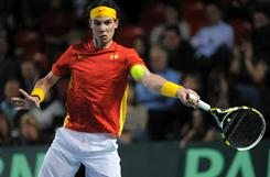 Spain's Rafael Nadal lines up a forehand during his 6-2, 6-4, 6-2 victory against Ruben Bemelmans of Belgium during the Davis Cup first-round match in Charleroi, Belgium.