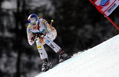 Lindsey Vonn en route to finishing second in the super-combined event in Tarvisio, Italy. The effort was good enough for the American to retain the super-combined season title.