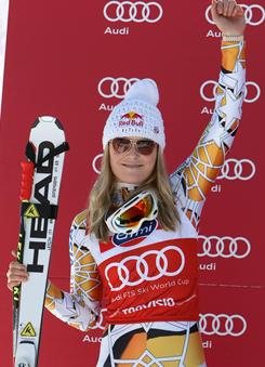 With her 2nd place during the Audi FIS Alpine Ski World Cup Women's Downhill on Saturday in Tarvisio, Italy, Lindsey Vonn clinched her fourth consecutive downhill title.