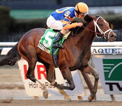 Stay Thirsty, with Ramon Dominguez aboard, raced to a three-length victory in the Gotham Stakes on Saturday.