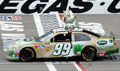 Carl Edwards celebrates with his trademark backflip after winning the Kobalt Tools 400 at Las Vegas Motor Speedway.