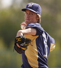 Zack Greinke was acquired by the Brewers in a trade over the winter.