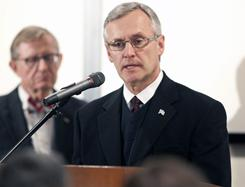 Ohio State coach Jim Tressel takes questions from the media during Tuesday's press conference.