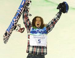 Shaun White won gold in the halfpipe at the 2010 Vancouver Olympics.