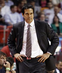 Head coach Erik Spoelstra has been with the Heat for 16 years, climbing from the video room to Pat Riley's protege.