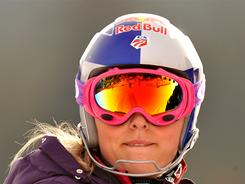Lindsey Vonn makes her inspection of the women's slalom during the Alpine Skiing World Cup in Spindleruv Mlyn on March 12.
