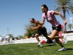 Andrea Petkovic of Germany runs sprints during a workout Thursday at the BNP Paribas Open in Indian Wells, Calif.
