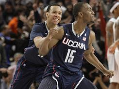 Connecticut's Kemba Walker celebrates his game-winning shot against Pittsburgh in the Big East quarterfinals.