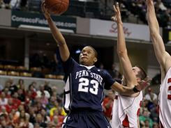 It wasn't pretty, but Tim Frazier (23) scored eight points to lead Penn State over No. 13 Wisconsin in the Big Ten quarterfinals.