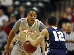 Ohio State forward Jared Sullinger (0,) guarding Penn State's Talor Battle during Sunday's title game, was named the Big Ten tournament's most outstanding player.