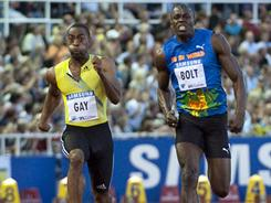 American Tyson Gay, left, beat Jamaica's Usain Bolt in the 100 meters at the IAAF Diamond League meet in Stockholm last August.