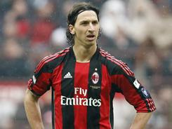 AC Milan's Zlatan Ibrahimovic will miss his side's city derby against Inter.