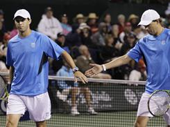 Mike Bryan, left, and Bob Bryan have won doubles titles everywhere in the world, but they've never won at the BNP Paribas Open in Indian Wells, CAlif.