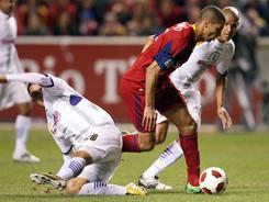 Alvaro Saborio, right, scored in the ninth minute to propel Real Salt Lake to a 2-0 win over Deportivo Saprissa.