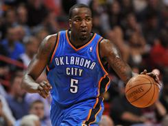 Oklahoma City acquired the 6-10 Kendrick Perkins from the Boston Celtics in a trade on Feb. 24.