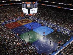 The wrestling mat has been out for the NCAA championships in at the Wachovia Center in Philadelphia.