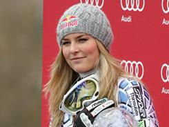 Lindsey Vonn, seen here after winning Wednesday's World Cup downhill event in Lenzerheide, Switzerland, lost the overall World Cup overall title to Maria Riesch.