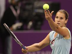 Slovakia's Dominika Cibulkova, shown here during the Qatar Open Feb. 23 in Doha, is ranked 27th in the world, the highest-ranked participant in the Sony Ericsson Xperia Hot Shots.