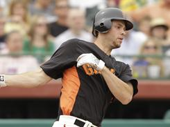Giants prospect Brandon Belt combined to hit .352 with 23 home runs and 112 RBI in the minors last season.