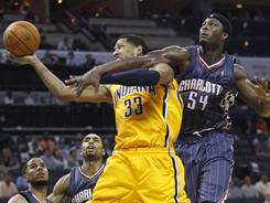 Indiana's Danny Granger (33), seen here getting fouled by Charlotte's Kwame Brown (54) during Wednesday's game, scored 33 points in the Pacers 111-88 win.