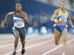 Zhanna Block of Ukraine, right, shown here competing at the 2004 Olympics, is being investigated for doping.