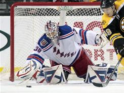 Henrik Lundqvist's league-leading 11th shutout of the season helped the Rangers stay two poitns ahead of the Sabres in the playoff race.