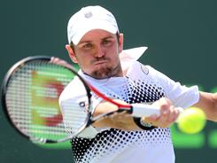 Mardy Fish lines up a forehand during his victory against Richard Gasquet of France at the Sony Ericsson Open on Sunday in Key Biscayne, Fla.