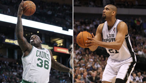 The Celtics have been without big man Shaquille O'Neal, left, since he was sidelined by an Achilles injury in early February, while the Spurs have been limping to the finish since Tim Duncan, right, injured his ankle March 21.