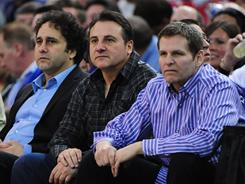 Sacramento Kings owners George Maloof, left, Gavin Maloof, center, and Joe Maloof have been in private discussions on a move out of the building formerly known as Arco Arena.