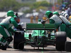 Simona De Silvestro pits her No. 78 Nuclear Clean Air Energy HVM Racing Dallara Honda during Sunday's IndyCar Series Honda Grand Prix of St. Petersburg.