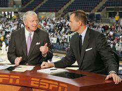 Jay Bilas talks basketball with Digger Phelps this season.