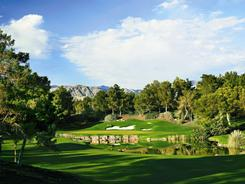 The 18th hole at Shadow Creek Golf Course outside Las Vegas, which hosts the 10th annual Michael Jordan Celebrity Invitational from March 31 through April 3. Proceeds will benefit the Make-A-Wish Foundation, Nevada Cancer Institute, James R. Jordan Foundation and Cats Care