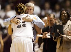 Texas A&M forward Danielle Adams and coach Gary Blair led the Aggies to a Final Four berth after besting top-seeded Baylor in the Spokane Regional final.