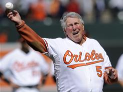 Hall of Famer Brooks Robinson, seen here throwing out the first pitch at the Blatimore Orioles 2010 home opener, was treated for prostate cancer in 2009.