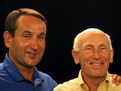 Duke track coach Al Buehler, center, is the subject of a documentary by former Blue Devils star Grant Hill. Duke basketball coach Mike Krzyzewski, left, knows them both.
