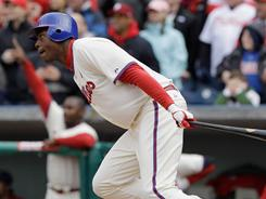 John Mayberry Jr. hits a game-winning single to defeat the Astros 5-4 in the bottom of the ninth inning at Citizens Bank Park.