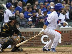 Chicago pinch-hitter Blake DeWitt hit a two-run double off Pittsburgh reliever Evan Meek, breaking a 3-3 tie during the eighth inning Saturday. The Cubs beat the Pirates 5-3.