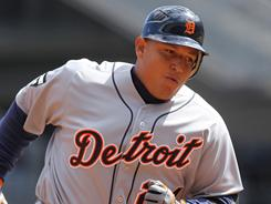 Miguel Cabrera hit two home runs against the Yankees staff.