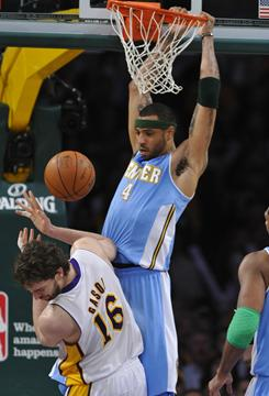 Denver's Kenyon Martin (4) scored 18 points in the Nuggets' 95-90 win against the Lakers in Los Angeles on Sunday.