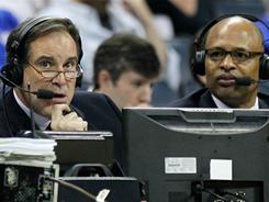 Jim Nantz, left, and Clark Kellogg make up two-thirds of the three-man booth CBS has used during the Final Four. Steve Kerr, on hand via the new CBS/Turner partnership, is the third.