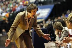 Stanford coach Tara VanDerveer gives instruction to the bench during the Cardinal's narrow loss to Texas A&amp;M in the women's Final Four in Indianapolis.