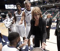 Texas Legends head coach Nancy Lieberman, center, is ready to lead her team to the start of the NBA Development League playoffs this week.
